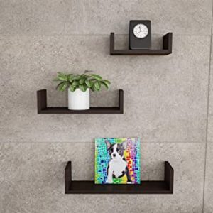 Lavish Home Floating Shelves-U Shape Wall Shelf Set with Hidden Brackets