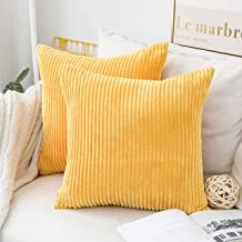 HOME BRILLIANT Decor Pillow Covers Decorative Soft Striped Corduroy Velvet Square Throw Pillows Mustard Sofa Cushion Covers Set Couch