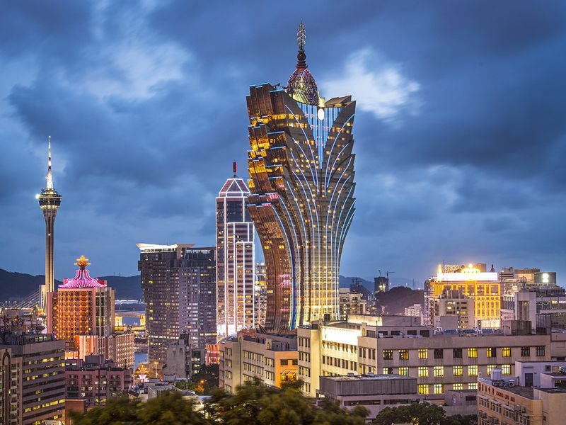 Macau city skyline.