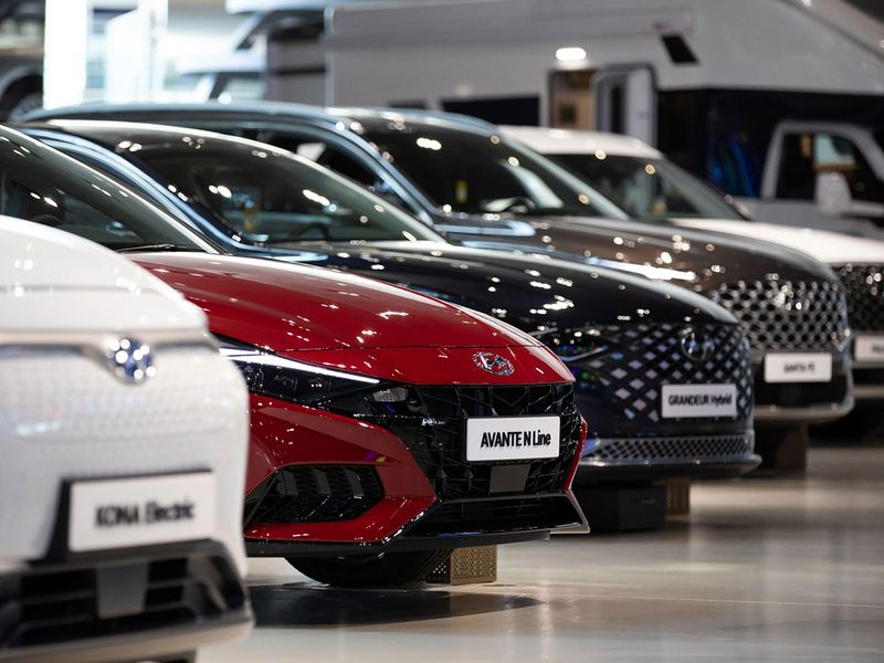 Hyundai cars are displayed at the company's Motorstudio showroom in Goyang