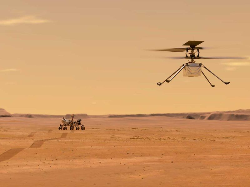 NASA depicts the Ingenuity helicopter on Mars after launching from the Perseverance rover