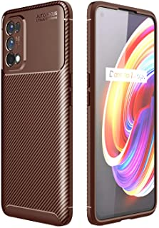 Soosos Case for OPPO Realme 7 Pro Case Carbon Fiber Ultra thin TPU Soft Silicone Shockproof Anti-fall Cell phone Protective covers (Brown)