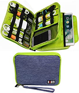 Electronics Organizer Travel Cable Cord Bag Accessories Gadget Gear Storage Cases (Light Blue)