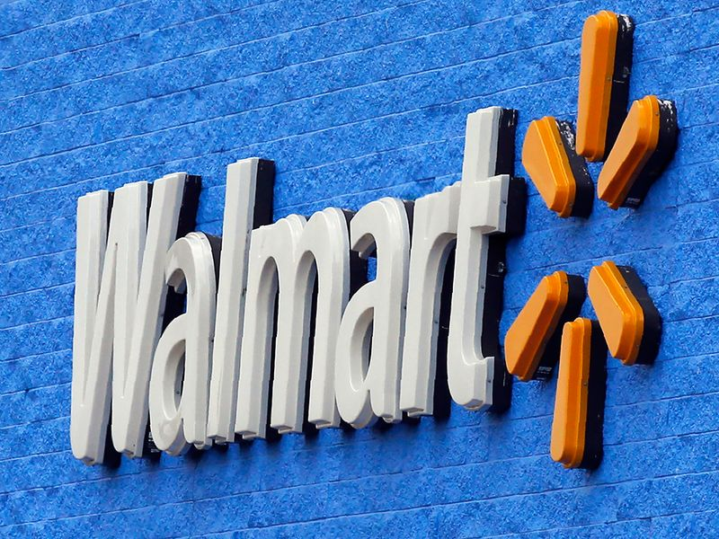 File photo: A signage is pictured at a Walmart store in Oklahoma City.