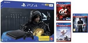 Sony Playstation 4 Slim 1TB Console with Death Stranding Bundle (PS4) and 3 Hits Games - Uncharted 4