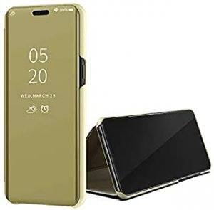 Custodia® Mirror Plating Clear View Stand Function Flip Case for OPPO Reno (Gold)