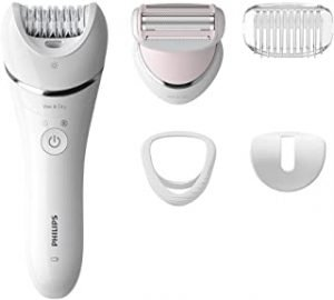 PHILIPS Epilator Series 8000.Wet and Dry Cordless Hair Removal for Legs and Body with 5 Accessories.Shaving head and trimming comb. 3 pin