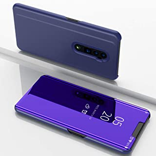 Custodia® Mirror Plating Clear View Stand Function Flip Case for OPPO Reno 10x zoom (Purple)