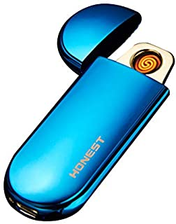 Ezzyso USB Charge Electronic Windproof Thin Male Personality Women Electric Heating Wire Shake To Start Cigarette Lighter - Blue