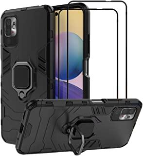 EasyLifeGo for Xiaomi Redmi Note 10 5G / Xiaomi Poco M3 Pro 5G Kickstand Case with Tempered Glass Screen Protector [2 pieces]