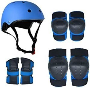 GREFLY Protective Gear Set Kids Knee Pads hat Elbow Pads With Wrist Guards Protective Gear Set for Scooter