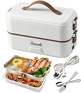 Electric Lunch-Box Heat up - JOOZAKI Portable Bento Box Rice Cooker Egg Steamer Food Heater for Office/Home/School/Travel/Construction Site 220v 2-Layer Container (White)