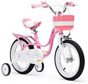 RoyalBaby Girls Kids Bike Little Swan 16 18 Inch Bicycle For 4-9 Years Old Child's Cycle Kids Bicycles With Basket Training Wheels Or Kickstand Child Bike Pink