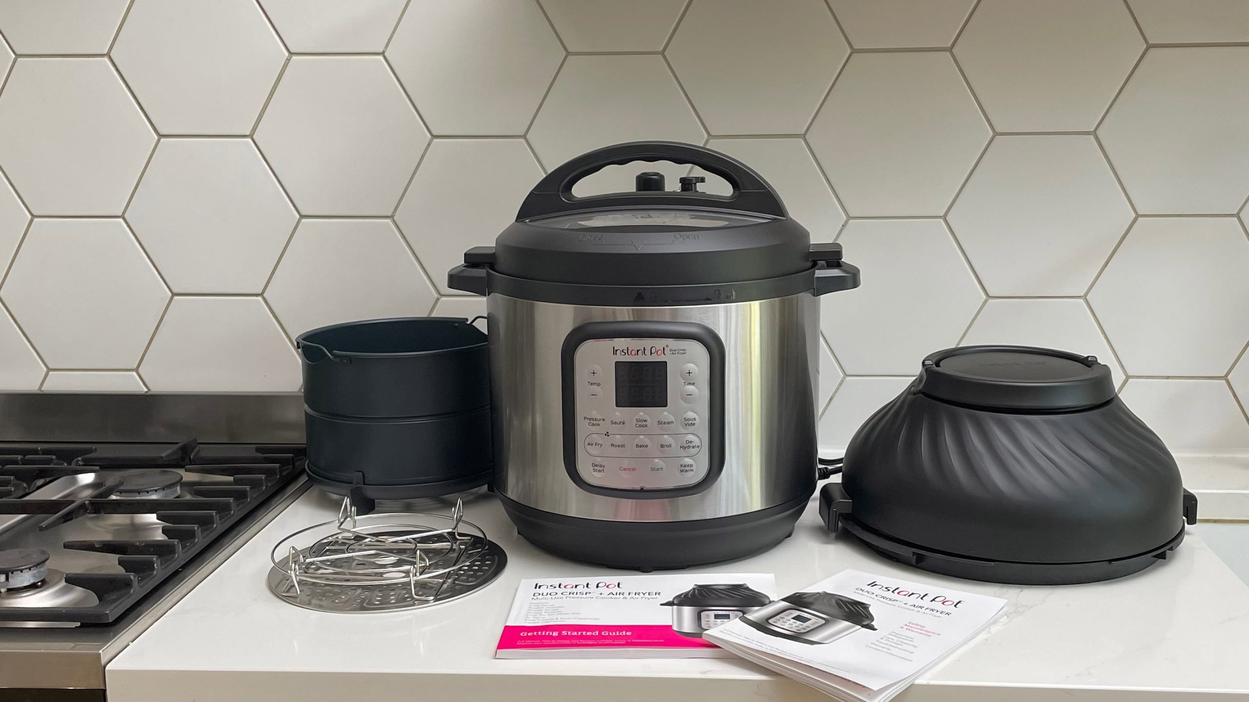 Instant Pot Duo Crisp & Air Fryer on a kitchen countertop