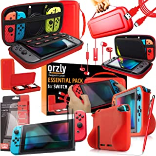 Switch Accessories Bundle - Orzly Essentials Pack for Nintendo switch Case & Screen Protector