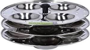 Royalford Stainless Idly Stand - 3-Tier with 12 Pcs Capacity Idli Steamer