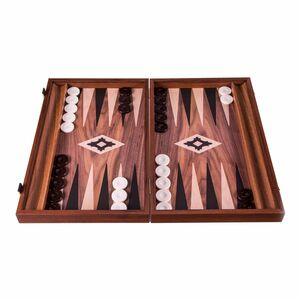Manopoulos Backgammon Basic Collection Walnut Wood Replica With Side Racks Small 48cm X 30cm