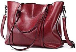 Europe and America Retro Fashion Cowhide Leather Bags Handbags Women Crossbody Bag Trunk Tote Designer Shoulder Bag Ladies Large Bolsos Mujer-Red
