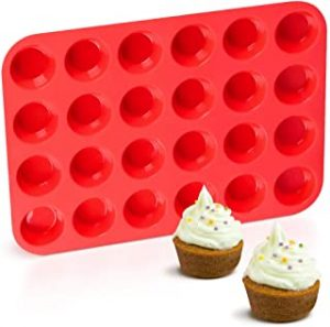 Silicone Muffin Pan Mini 24 Cups Cupcake Pan Nonstick BPA Free Silicone Baking Pan 1 Pack