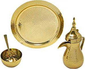 WAM : 900ML Dallah Set( 11inch Dallah+Bowl+Tray+Spoon) Coffee Pot