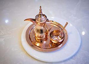 WAM : 900ML Hammered Dallah Set( 11inch Dallah+Bowl+Tray+Spoon) Coffee Pot