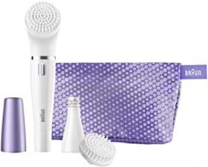 Braun Face SE832N Color Facial Cleansing Brush & Facial Epilator Limited Edition With Normal Brush And Beauty Pouch