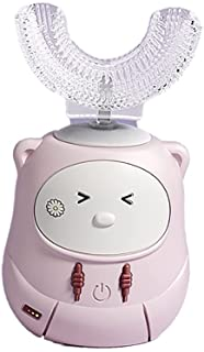 Automatic toothbrush أطفال يو شكل تبييض فرشاة الأسنان 3 سرعة التروس وضع مع رؤوس السيليكا فرشاة الأسنان بنيت في الموقت، والأضواء Oral Care (Color : Pink)