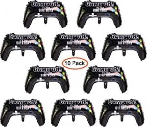 POMNUG 10 Pack Video Game Controller Balloons Game on Balloons Video Game Controller Aluminum Foil Balloons for Game Party Supplies Birthday Party Decorations